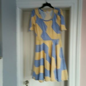 Yellow/Blue LuLaRoe Nicole Dress
